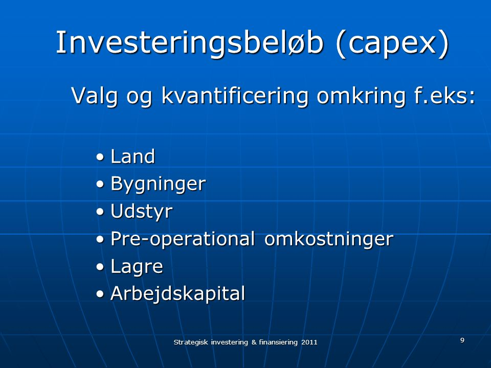 Investeringsbeløb (capex)