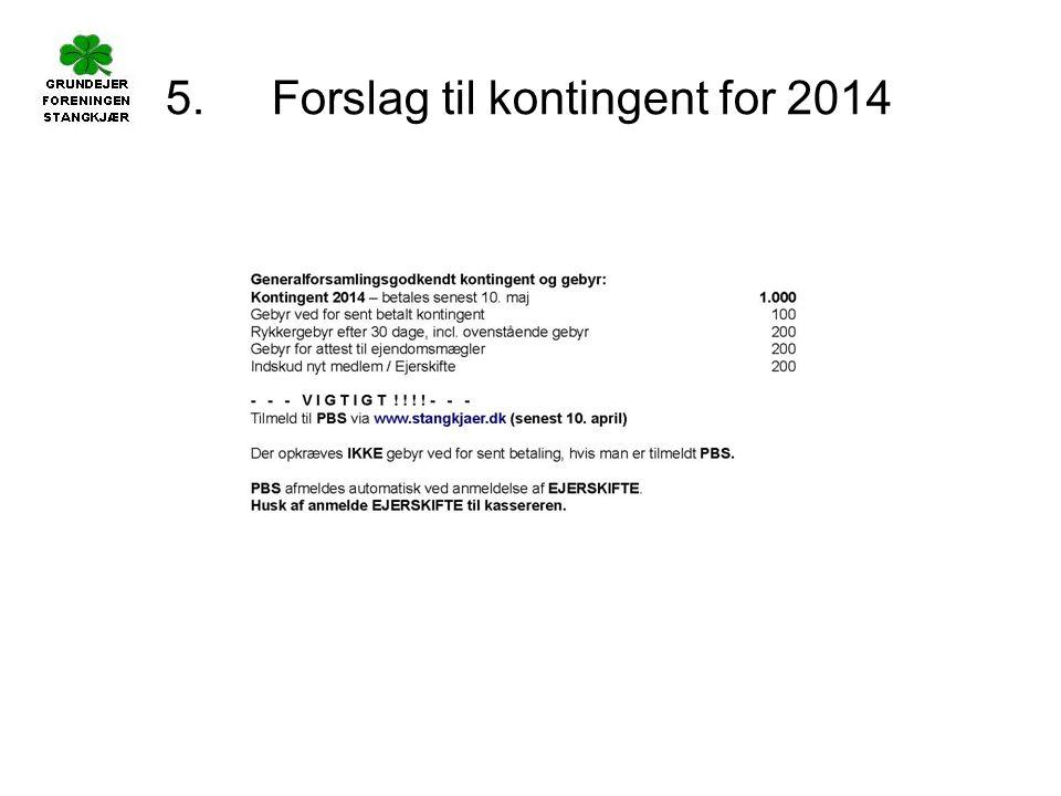 5. Forslag til kontingent for 2014