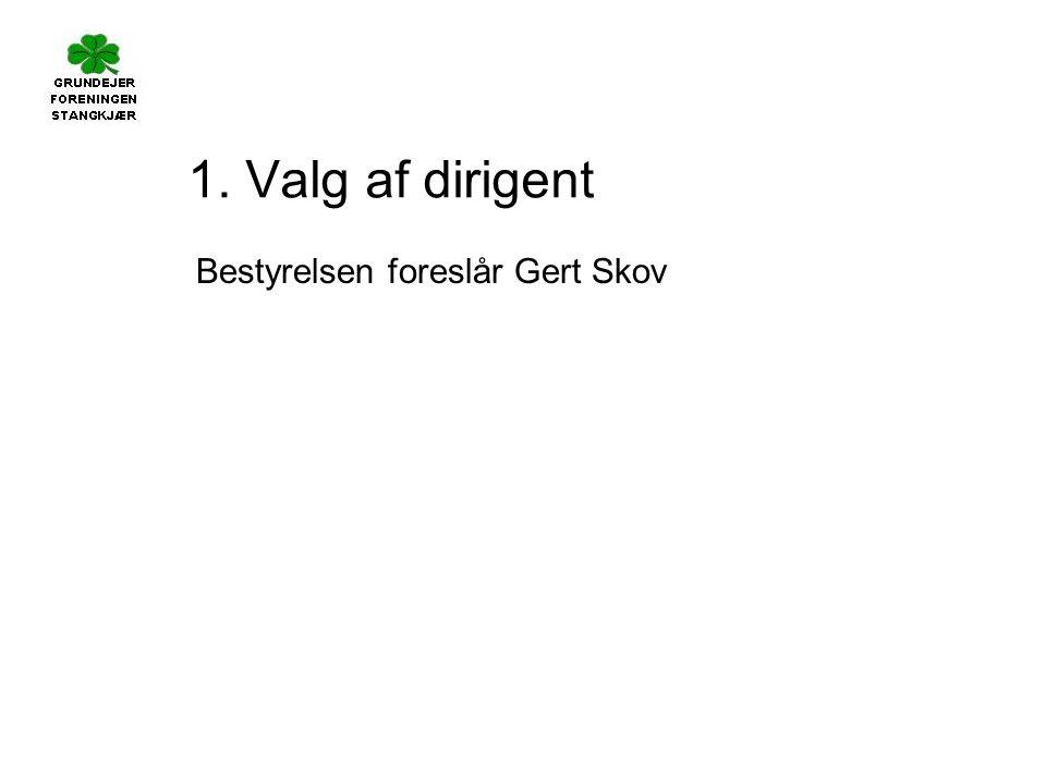 1. Valg af dirigent Bestyrelsen foreslår Gert Skov