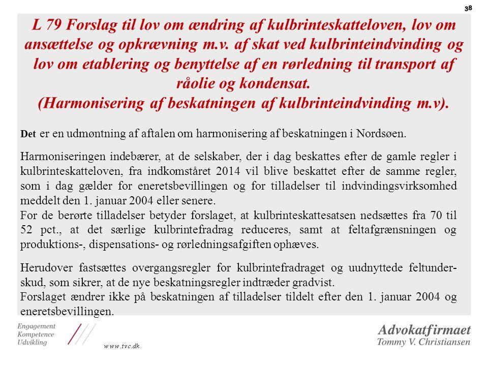 (Harmonisering af beskatningen af kulbrinteindvinding m.v).