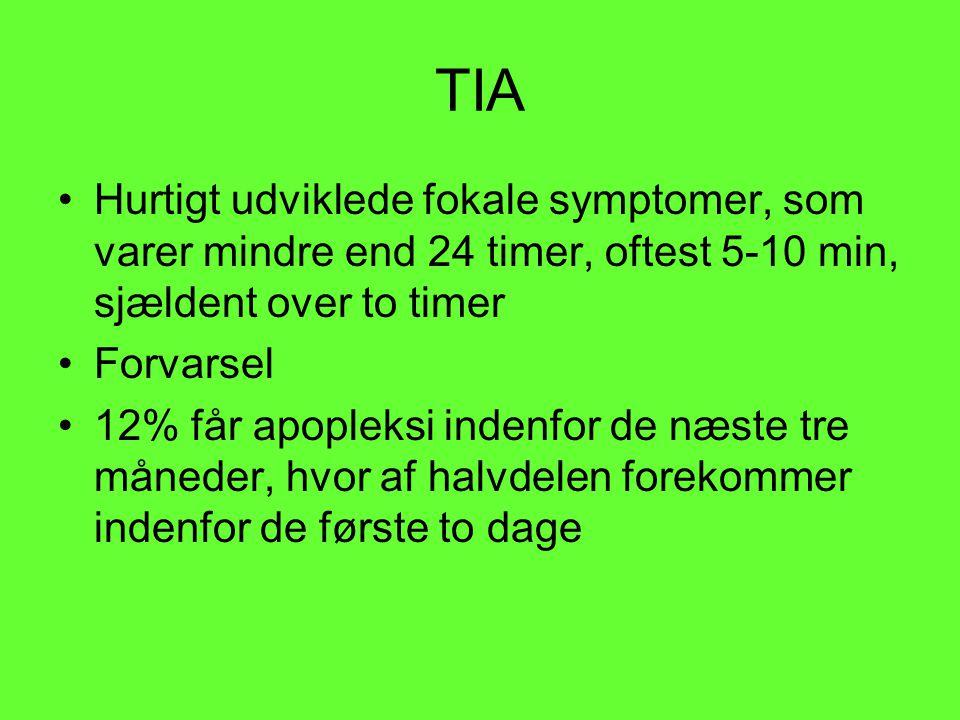 TIA Hurtigt udviklede fokale symptomer, som varer mindre end 24 timer, oftest 5-10 min, sjældent over to timer.