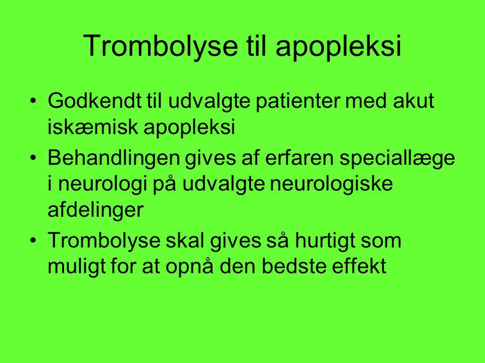 Trombolyse til apopleksi