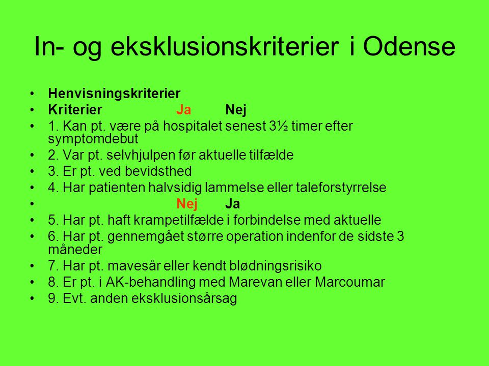 In- og eksklusionskriterier i Odense