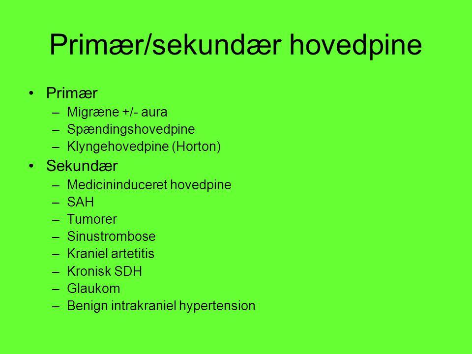 Primær/sekundær hovedpine