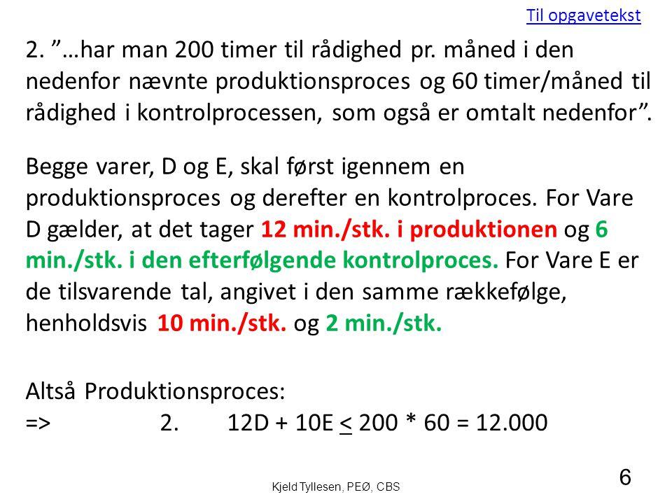 Altså Produktionsproces: => 2. 12D + 10E < 200 * 60 = 12.000