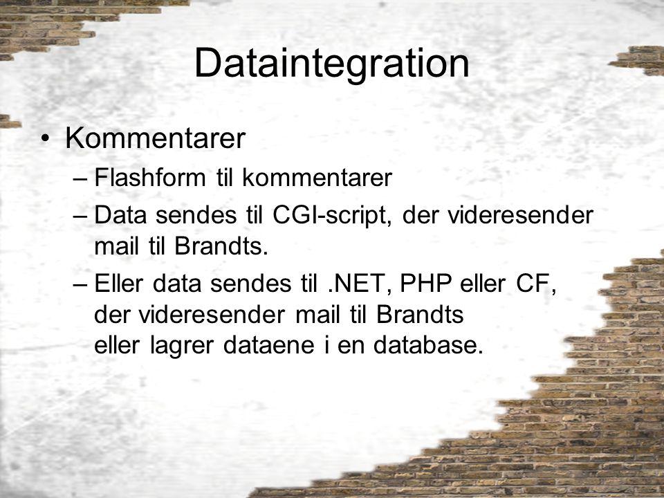 Dataintegration Kommentarer Flashform til kommentarer