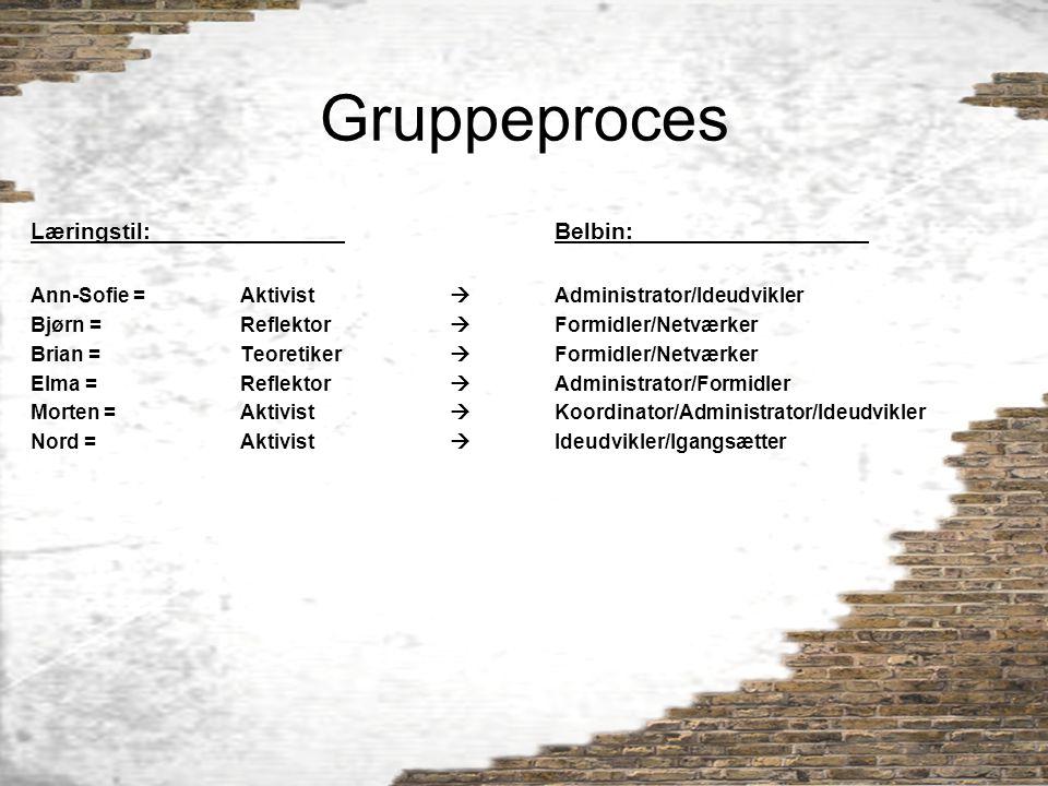 Gruppeproces Læringstil: Belbin: