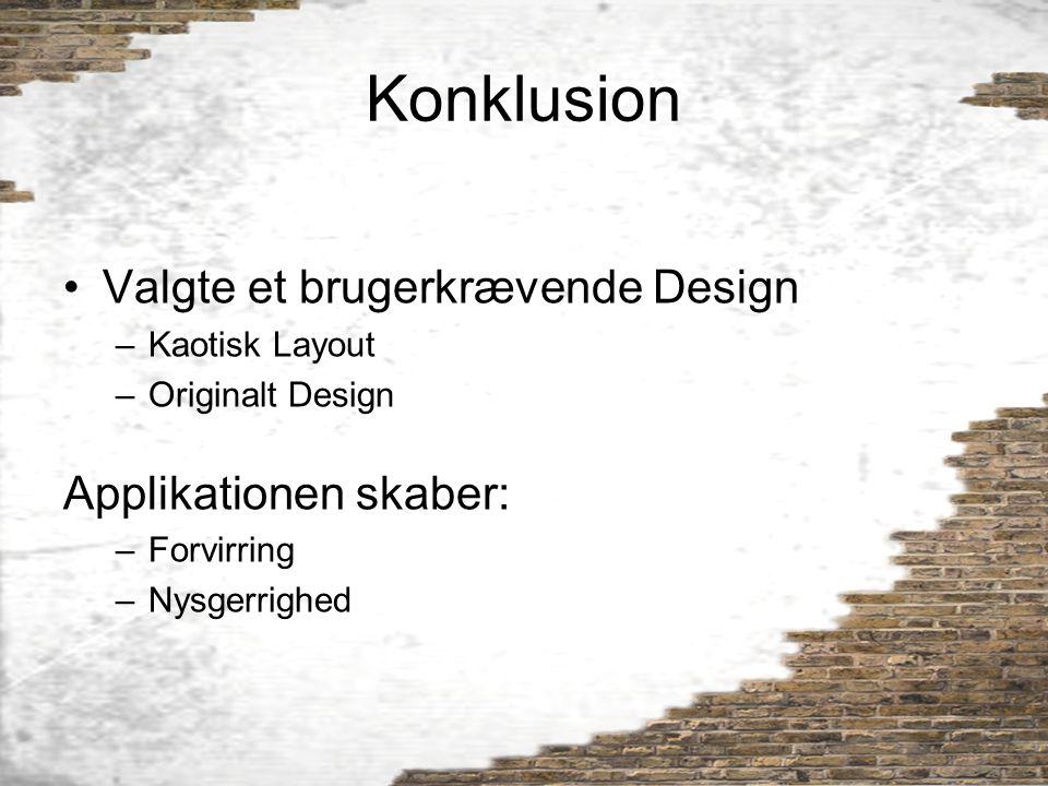 Konklusion Valgte et brugerkrævende Design Applikationen skaber: