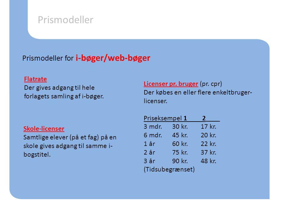Prismodeller Prismodeller for i-bøger/web-bøger Flatrate