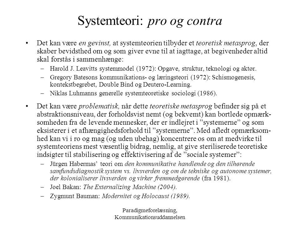Systemteori: pro og contra