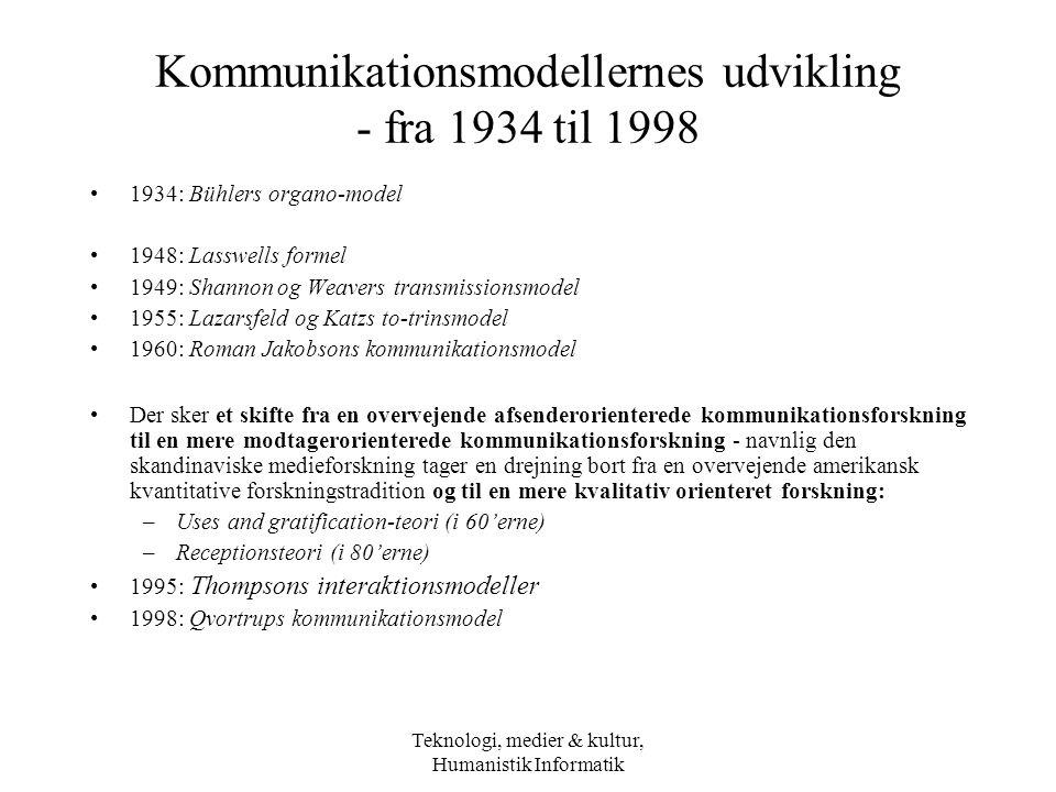 Kommunikationsmodellernes udvikling - fra 1934 til 1998