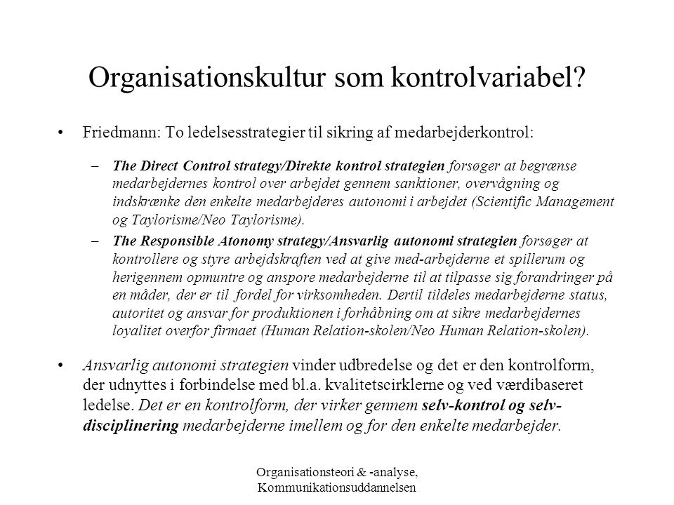 Organisationskultur som kontrolvariabel