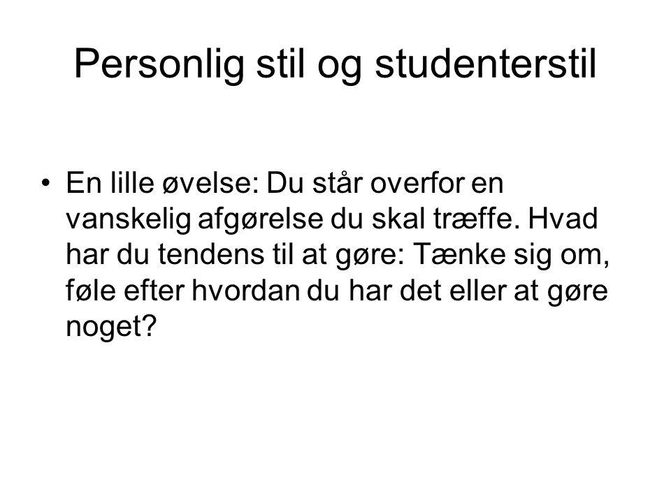 Personlig stil og studenterstil