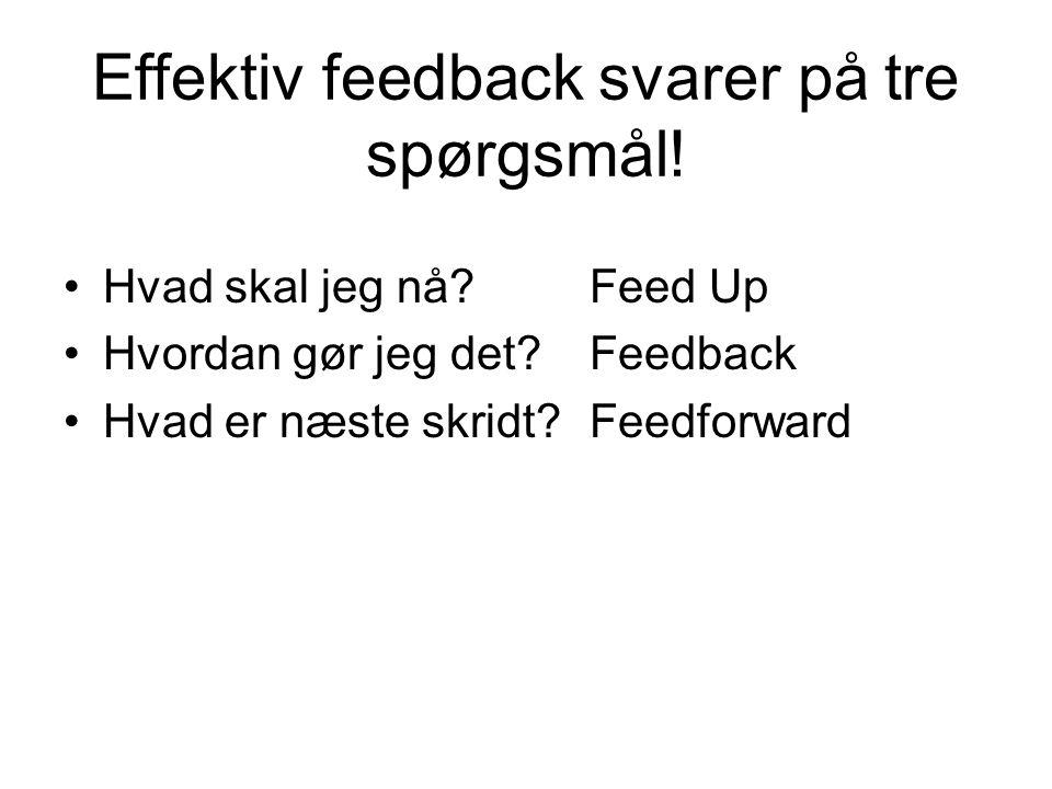 Effektiv feedback svarer på tre spørgsmål!