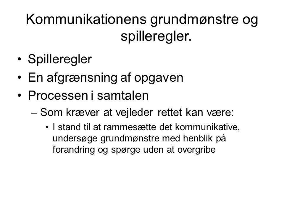 Kommunikationens grundmønstre og spilleregler.