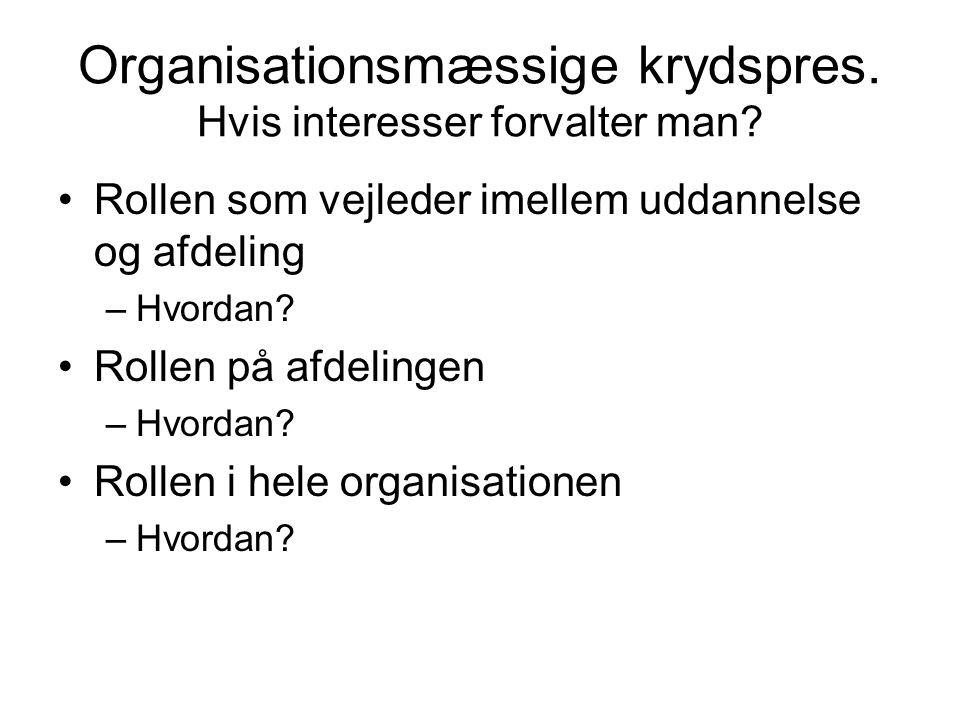 Organisationsmæssige krydspres. Hvis interesser forvalter man
