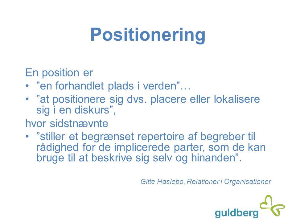Positionering En position er en forhandlet plads i verden …
