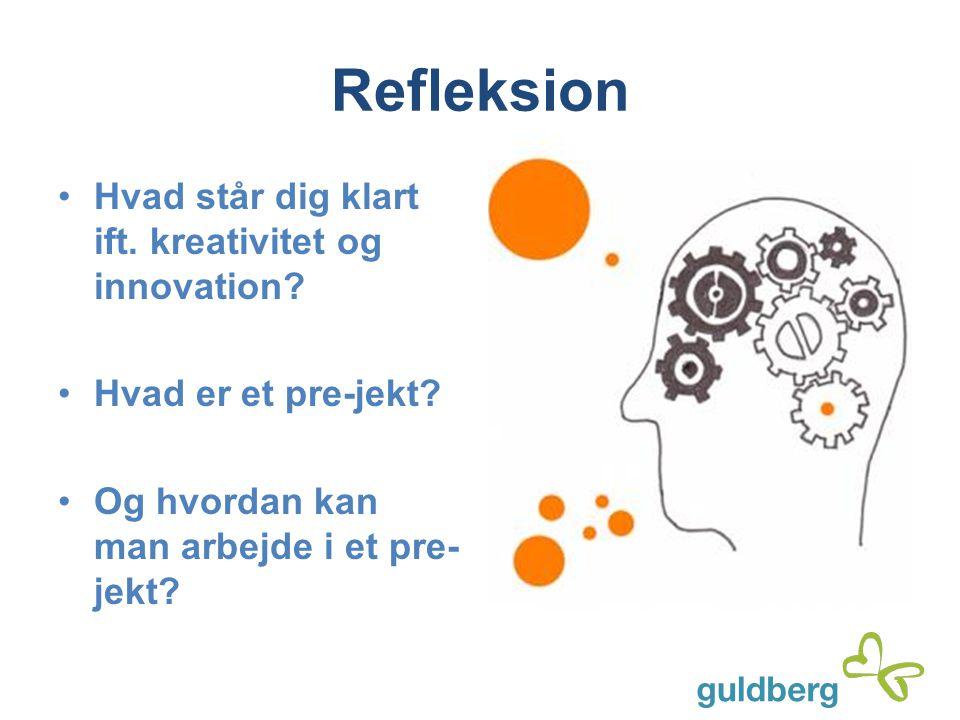 Refleksion Hvad står dig klart ift. kreativitet og innovation