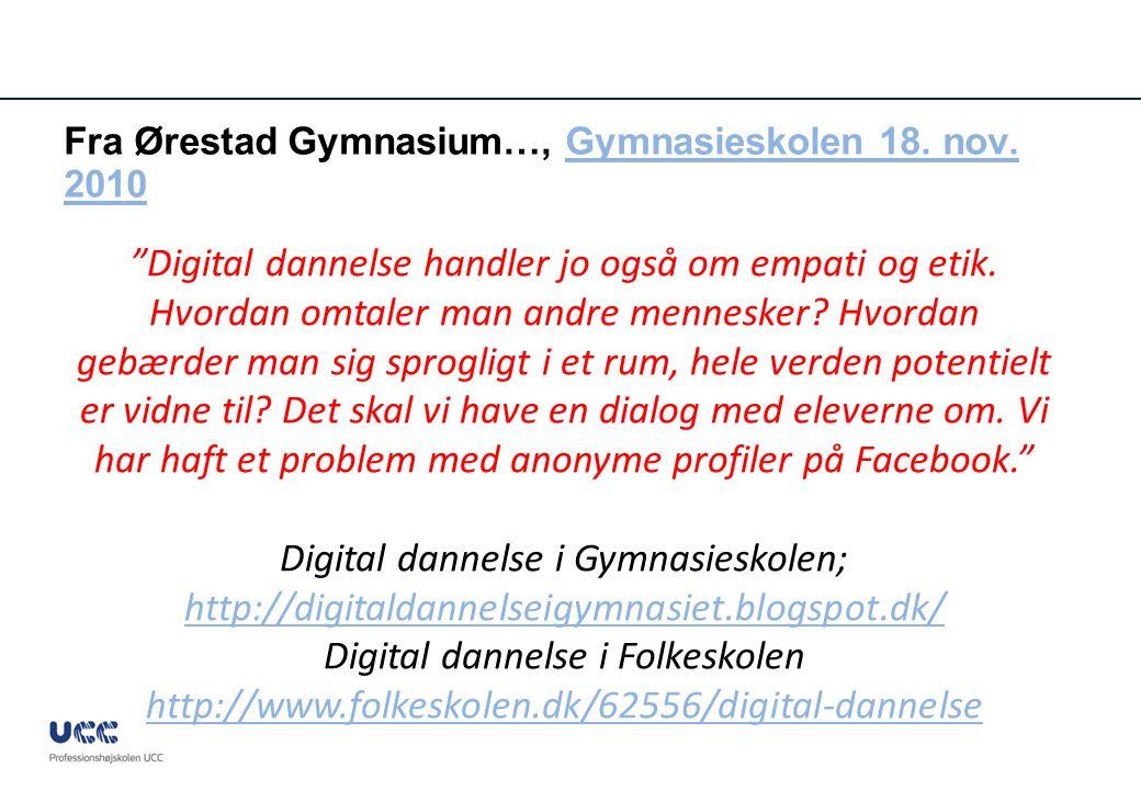 Fra Ørestad Gymnasium…, Gymnasieskolen 18. nov. 2010