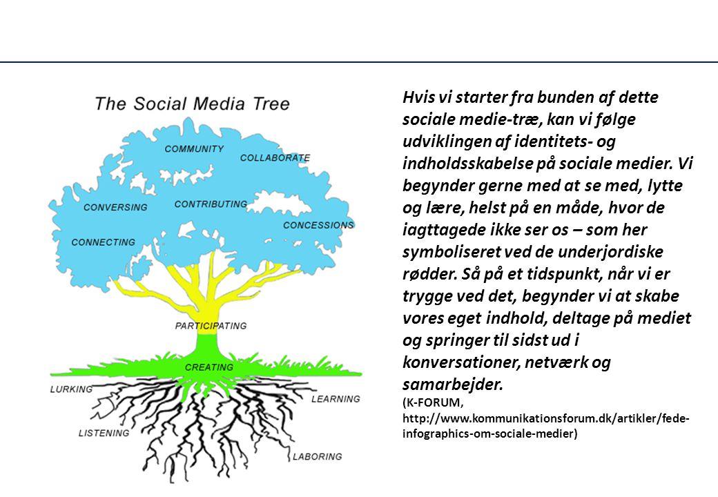 Hvis vi starter fra bunden af dette sociale medie-træ, kan vi følge udviklingen af identitets- og indholdsskabelse på sociale medier. Vi begynder gerne med at se med, lytte og lære, helst på en måde, hvor de iagttagede ikke ser os – som her symboliseret ved de underjordiske rødder. Så på et tidspunkt, når vi er trygge ved det, begynder vi at skabe vores eget indhold, deltage på mediet og springer til sidst ud i konversationer, netværk og samarbejder.