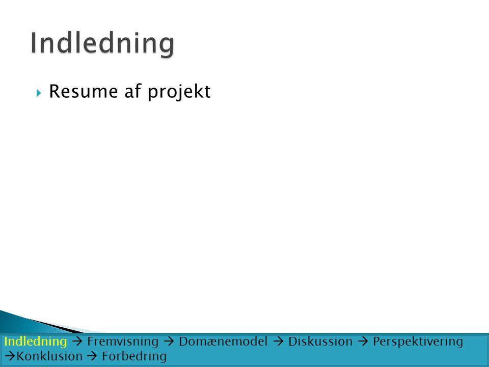 Indledning Resume af projekt