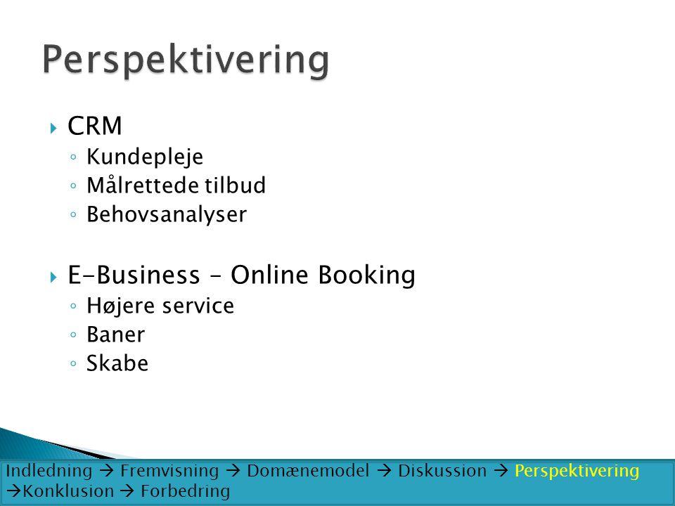 Perspektivering CRM E-Business – Online Booking Kundepleje