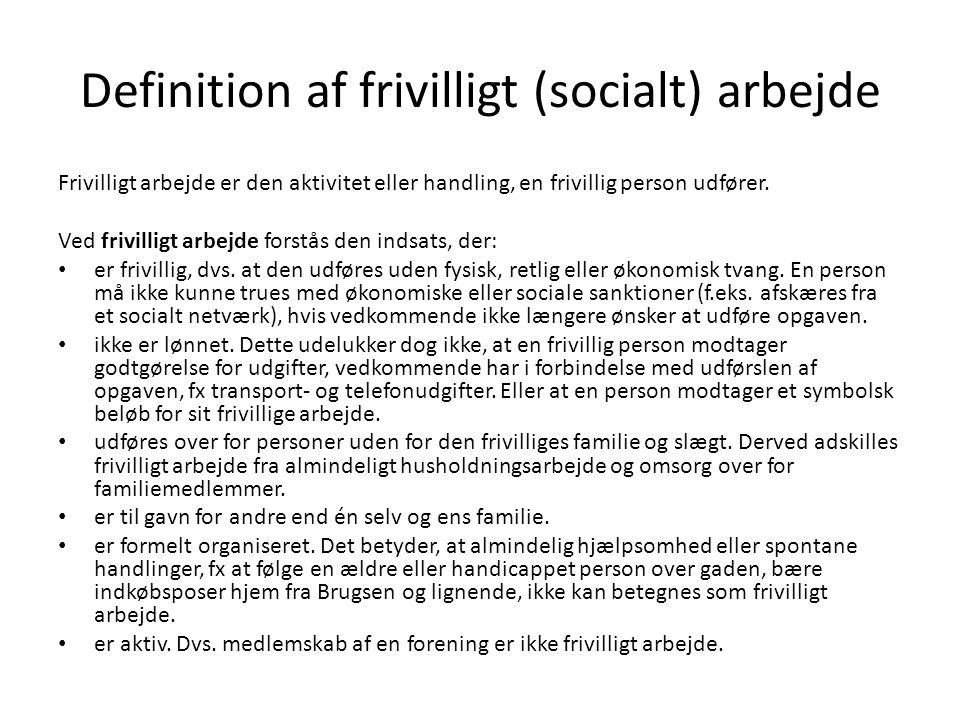 Definition af frivilligt (socialt) arbejde