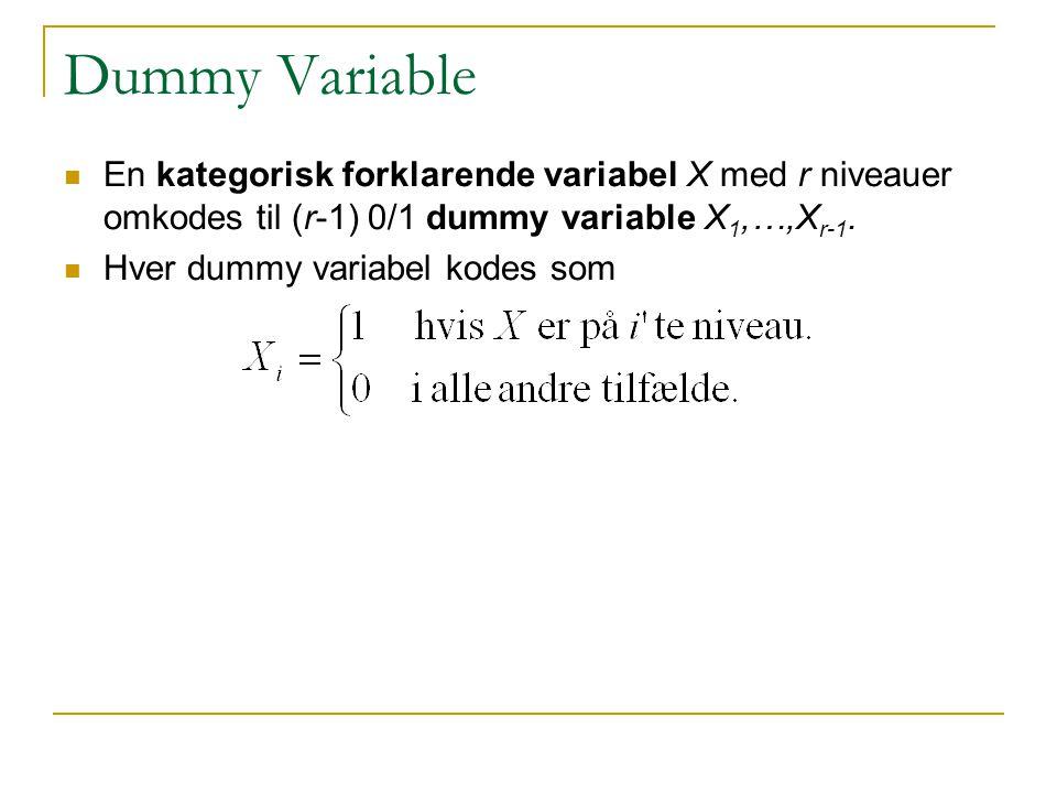 Dummy Variable En kategorisk forklarende variabel X med r niveauer omkodes til (r-1) 0/1 dummy variable X1,…,Xr-1.