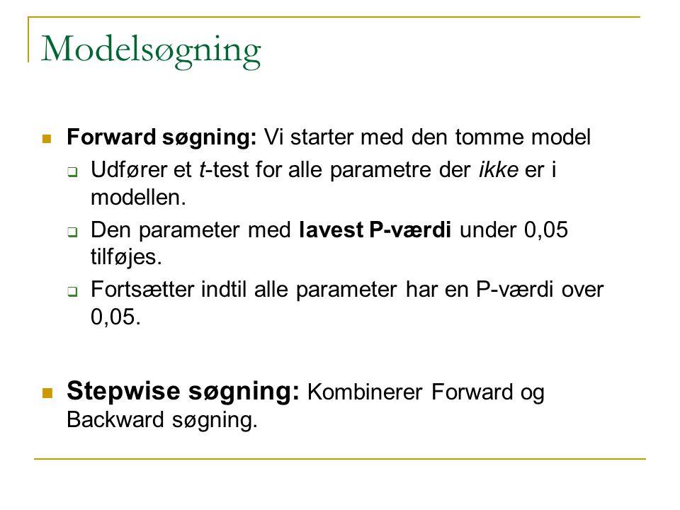 Modelsøgning Stepwise søgning: Kombinerer Forward og Backward søgning.