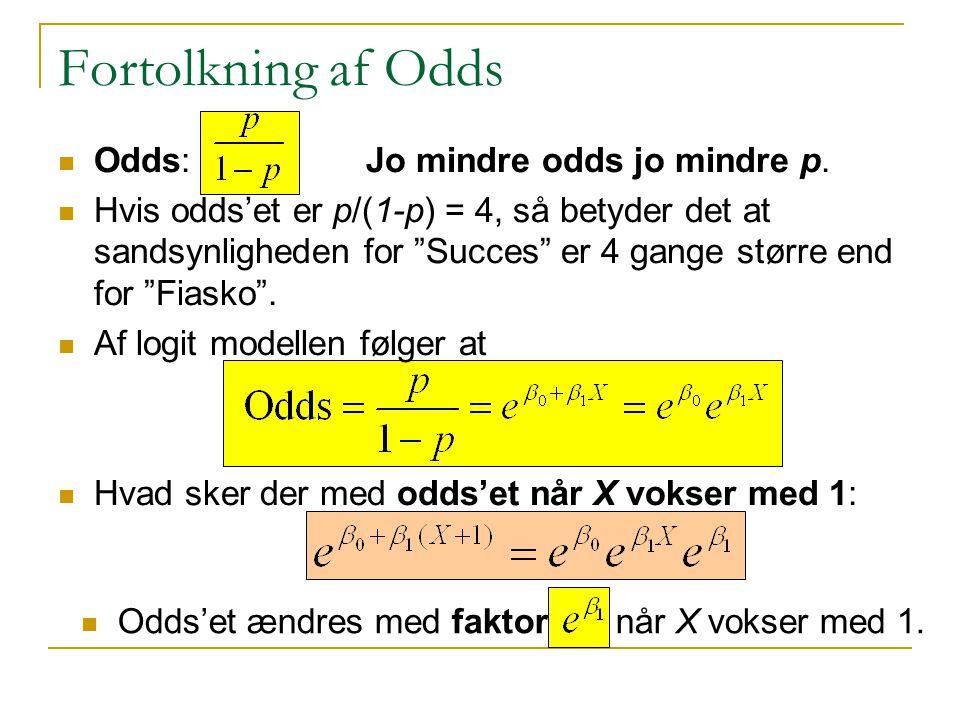 Fortolkning af Odds Odds: Jo mindre odds jo mindre p.