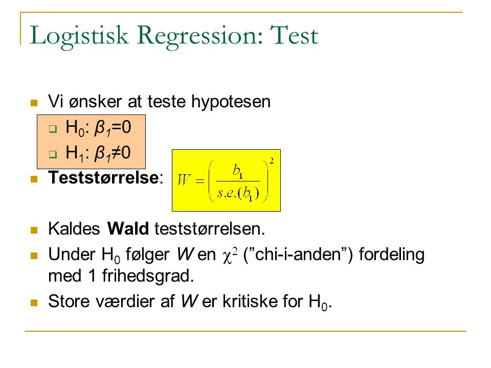 Logistisk Regression: Test