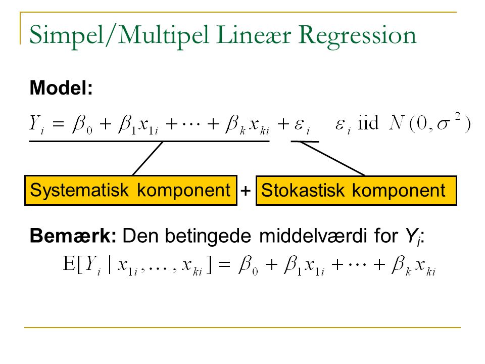 Simpel/Multipel Lineær Regression