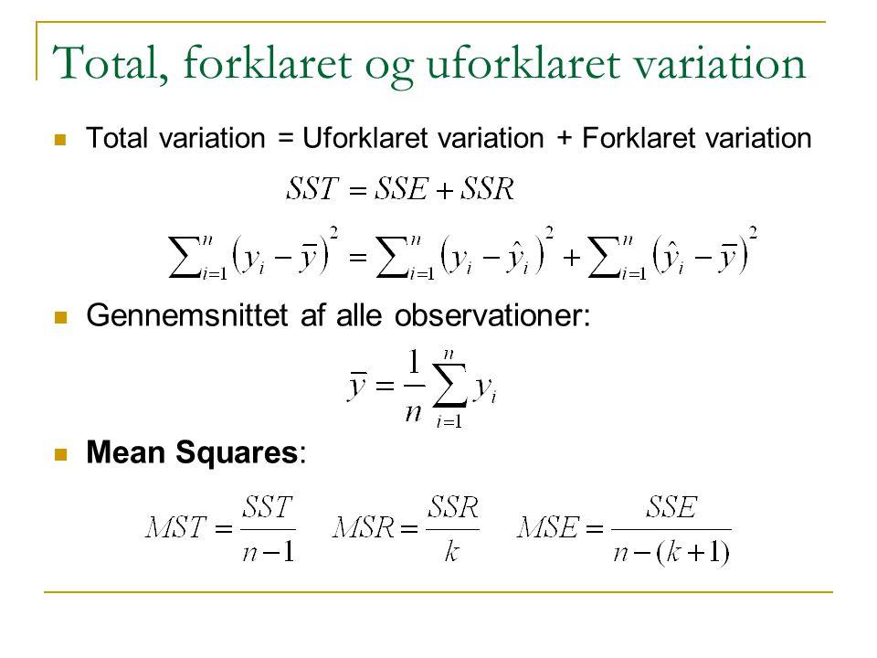 Total, forklaret og uforklaret variation