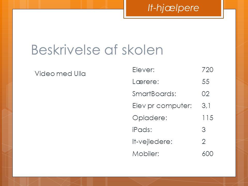 Beskrivelse af skolen It-hjælpere Elever: 720 Video med Ulla