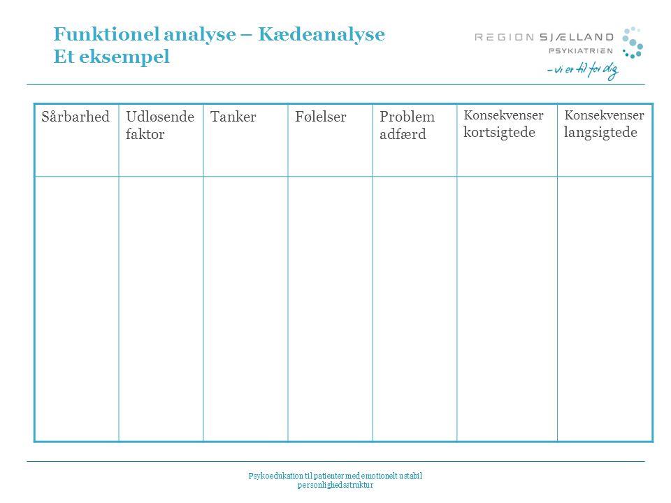 Funktionel analyse – Kædeanalyse Et eksempel