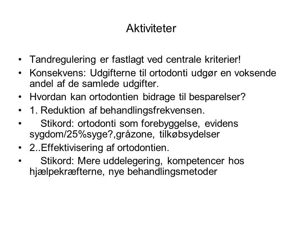 Aktiviteter Tandregulering er fastlagt ved centrale kriterier!