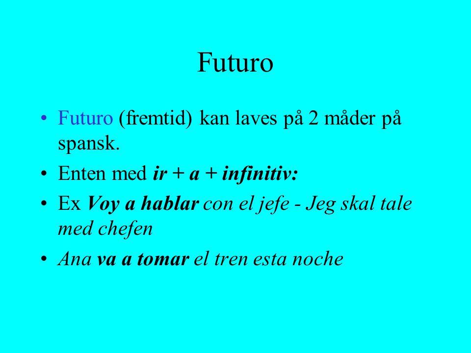 Futuro Futuro (fremtid) kan laves på 2 måder på spansk.