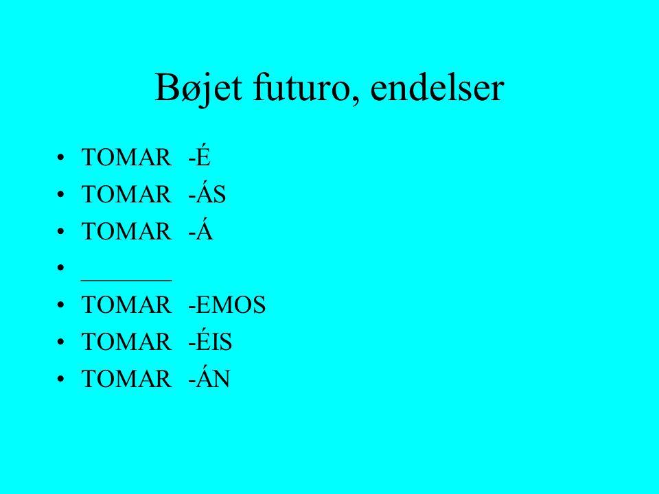 Bøjet futuro, endelser TOMAR _______ -É -ÁS -Á -EMOS -ÉIS -ÁN