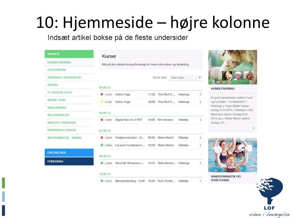 10: Hjemmeside – højre kolonne