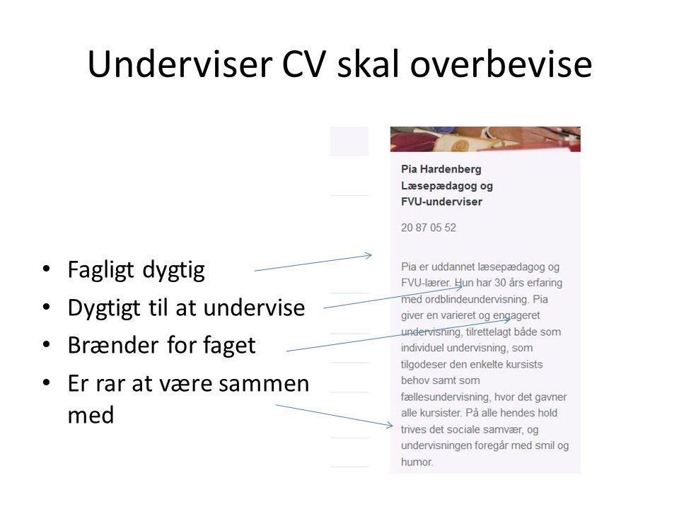 Underviser CV skal overbevise