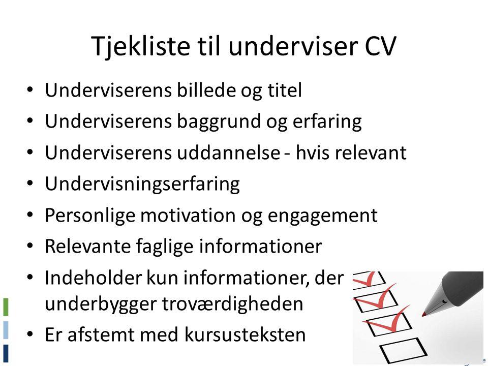 Tjekliste til underviser CV