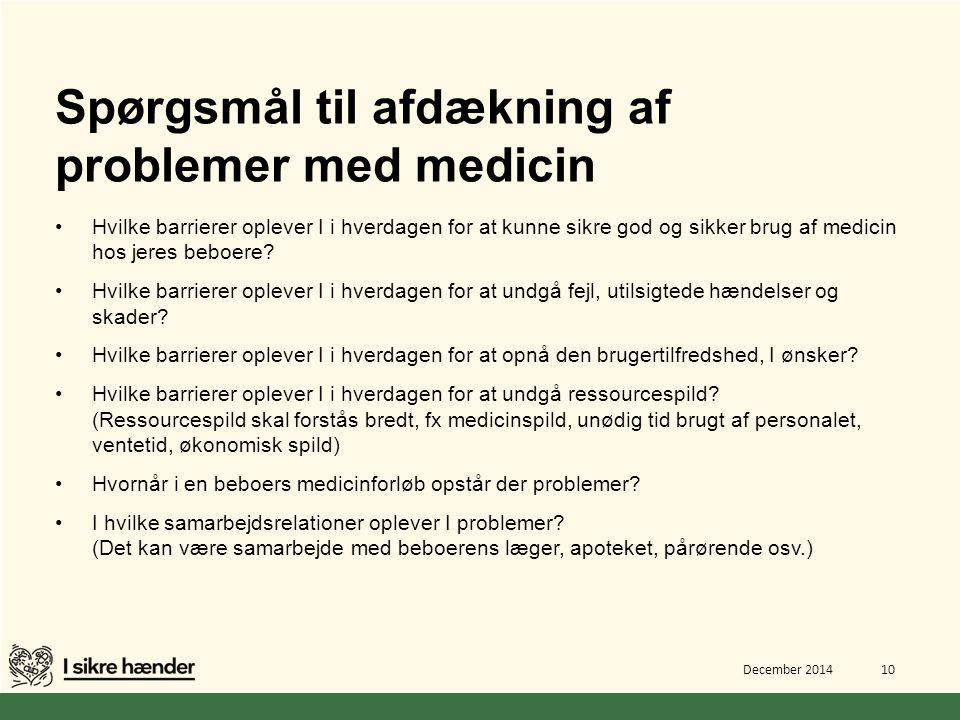 Spørgsmål til afdækning af problemer med medicin