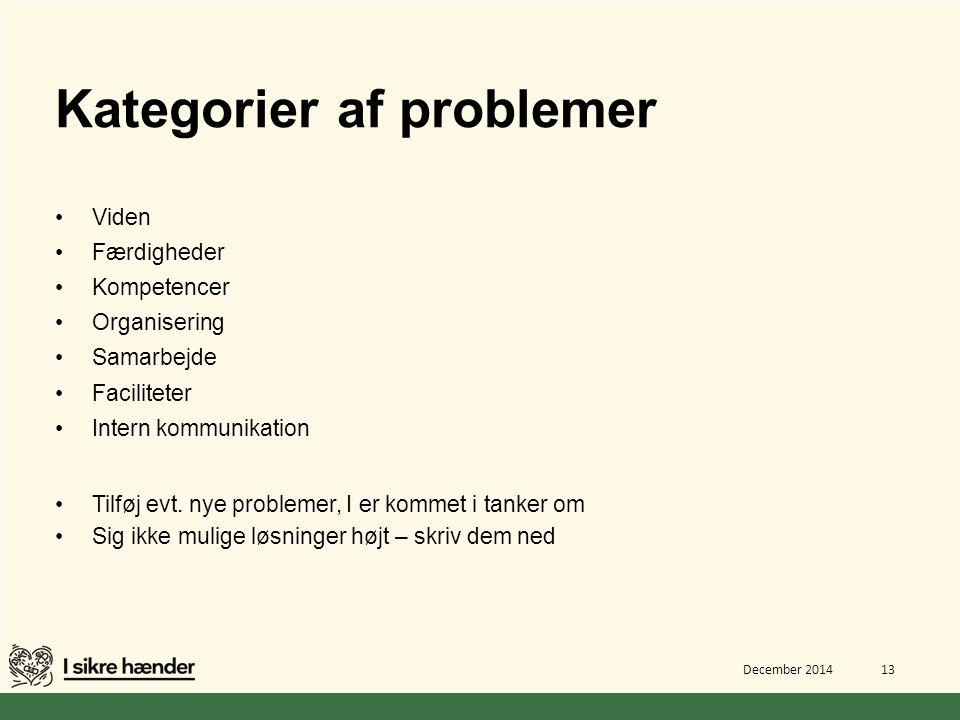 Kategorier af problemer