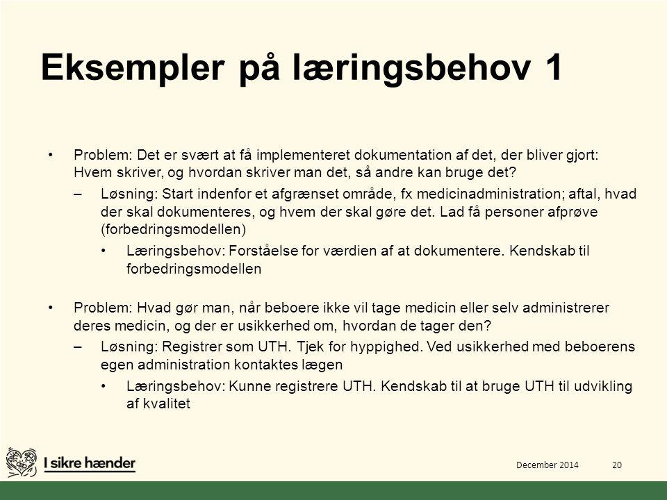 Eksempler på læringsbehov 1