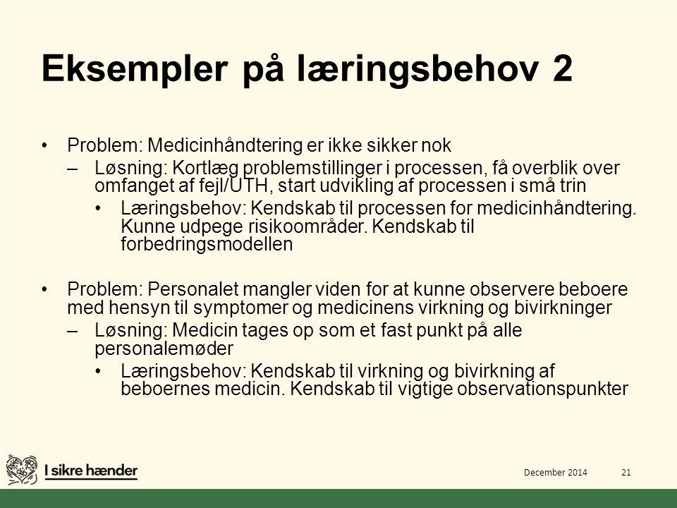 Eksempler på læringsbehov 2