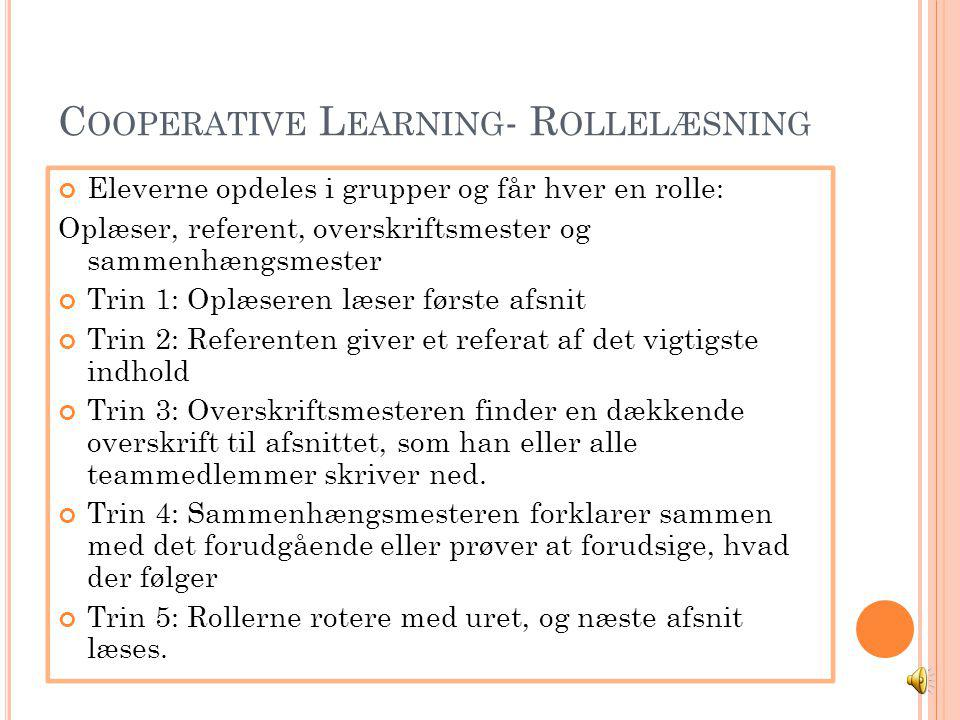 Cooperative Learning- Rollelæsning