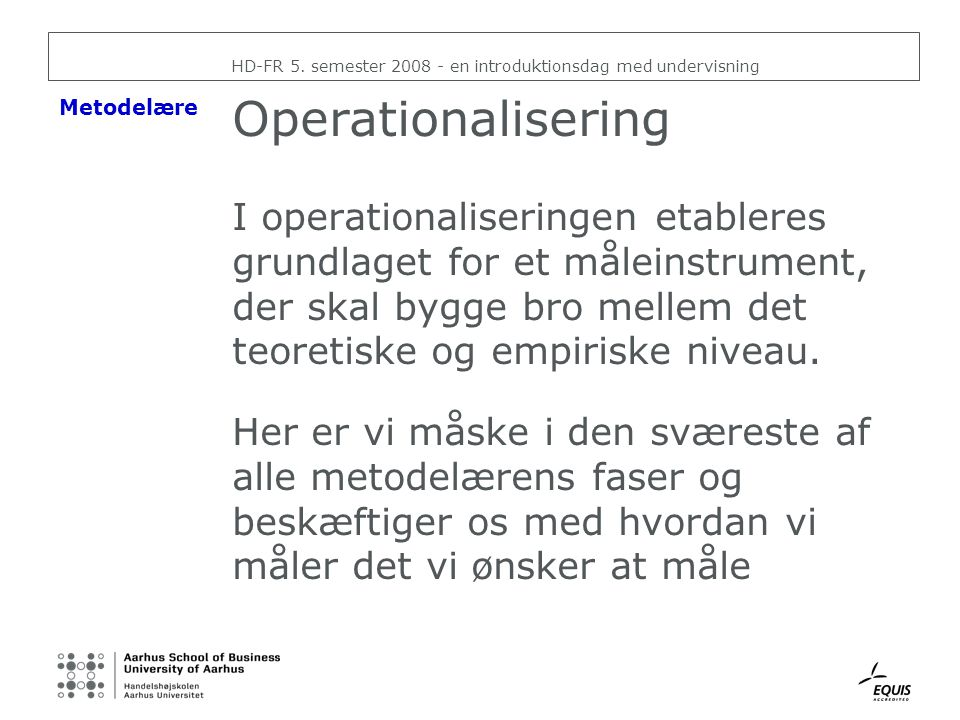 HD-FR 5. semester 2008 - en introduktionsdag med undervisning
