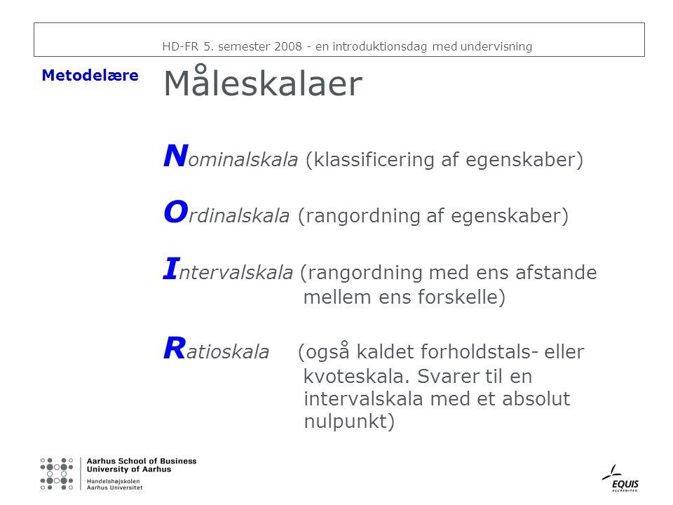Måleskalaer Nominalskala (klassificering af egenskaber)
