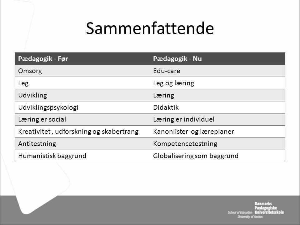 Sammenfattende Pædagogik - Før Pædagogik - Nu Omsorg Edu-care Leg