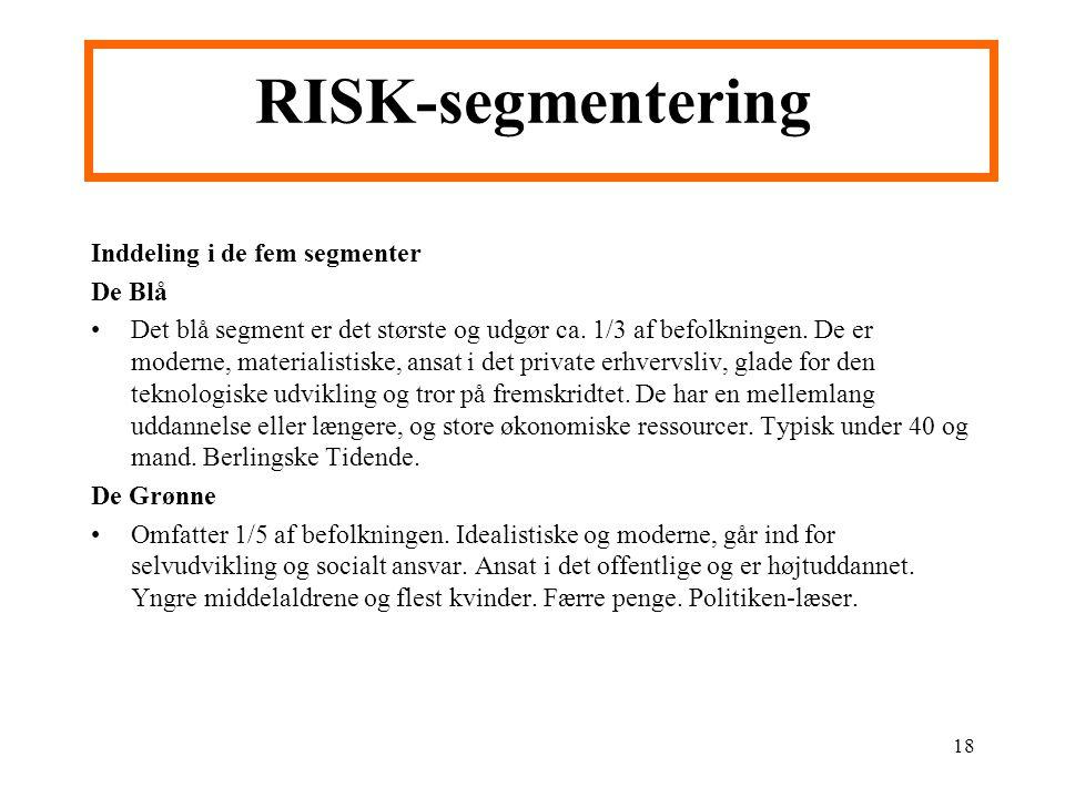 RISK-segmentering Inddeling i de fem segmenter De Blå
